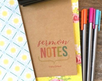 Sermon Notes . Church Notes, Faith Field Notes A6 A5 Passport Pocket Midori Standard Travelers Refill Insert