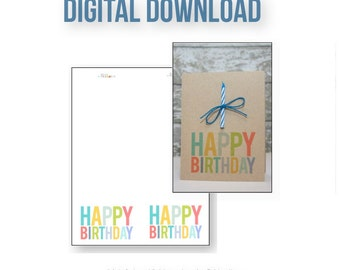 Happy Birthday Digital Download . Colorful DIY Card . Top Fold Design . Inspiration Worksheet Included .Children Rainbow Fun Simple Modern
