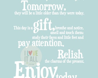 Enjoy Today Children's Oversized Art Print . Quote Saying . This Day Is A Gift . Nursery Poster . Baby Shower . Children's Room Decor