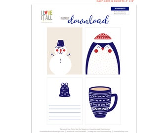 Nordic Design, Christmas Gift Tags, Penguin Card, Snowman, Hot Cocoa Cup, Journaling Cards, Journal Cards, Gift Tag, Christmas Tags, Bell