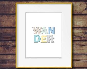 Wander Printable, Digital Art, Eco Art, Instant Download Art, Printable Wall Art, Printable Art, Home Decor, Wanderlust, Adventures,