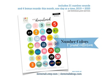 Number Collection, One Inch Rounds, Colorful Numbers, Cut Apart Numbers, Number Die Cut, Cut Out Ephemera, Numbers, Instant Download