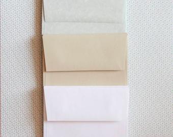 Square Flap Envelopes, A2 Envelopes, Gray Grey Marble Vellum, Parchtone, Kraft Speckletone, Natural, Bright White Envelope, Set of 10