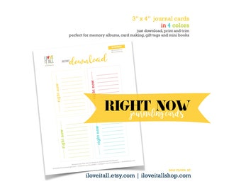 Right Now, Journaling Cards, Right Now Journal Card, Project Card, DIY Journal, Mindfulness Card, Junk Journaling, Scrapbooking, Mindset