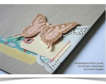 Chipboard Art Journal . Smash Book . Pre-Made Scrapbook Photo Mini Album . Square Scrap Book Mixed Media Art Journal . Notebook Mini Book