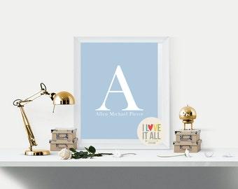 Name Art . Bedroom Office Baby Nursery . Personalized Custom Initial Alphabet ABC Name Keepsake Art Print . Kids Child Children Teen Room