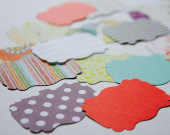 Scallop Shaped Paper Die Cuts, Tags, Scrapbooking, Planner Supplies, Mini Album Supplies
