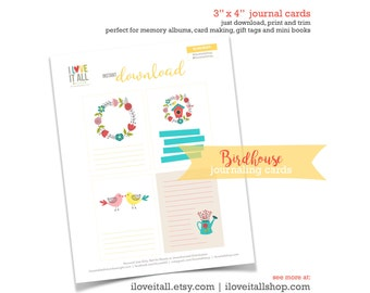 Birdhouse Journaling Card, Floral Wreath Journal Cards, Love Birds Card, Lined Card, Scrapbooking, Kissing Birds, Watering Can Note Cards