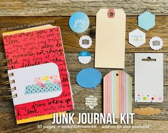 Junk Journal, Mixed Paper Journal, Listing Journal, 30 Lists, Mixed Media Journal, Smashbook Journal, Mini Album, Scrapbook, Notebook