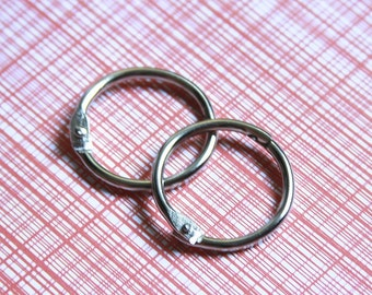 "1"" Book Binder Rings, Silver, One Inch Bindery Ring Hinges, Two Inch Book Rings, Mini Album Rings, Scrapbooking Rings, Washi Tape Storage"