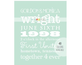 Wedding Marriage Anniversary Shower . Announcement Word Art Gift Personalized Date Anniversary Subway Memory Sign Print . Graphic Typography