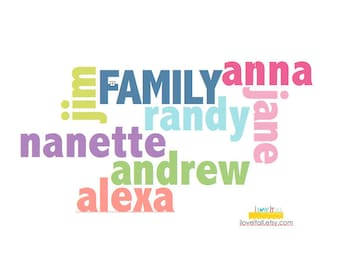 Family Tree Personalized Typographic Name Art . Custom Gift Mom Dad . Anniversary Birthday . Graphic Typography . Big Art Poster Print Sign