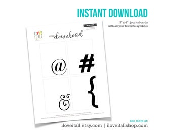 Punctuation Symbols, Ampersand Sign, Hashtag Sign, Bracket, At Sign, Typography Cards, Project Card, Punctuation Journal Cards, Symbols