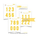 Yellow Numbers, Printable Numbers, Cut Apart, Number Die Cuts, Cut Out Ephemera, Colored Numbers, Numbers, 3 Inch Numbers, Instant Download