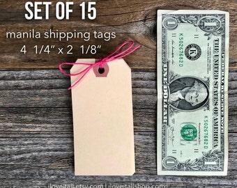 Manila Shipping Tags, Manila Shipping Tags, Media Shipping Tags, Manila Tag, Set of 15 Gift Tags, Hang Tag, Planner Supplies, Wedding
