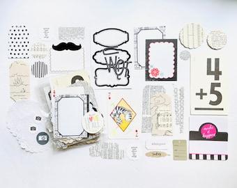 Monochromatic Classic Black + White Junk Journal Kit, Paper Ephemera, Junk Journaling Supplies, Vintage Flash Card, Mixed Media Crafting Kit