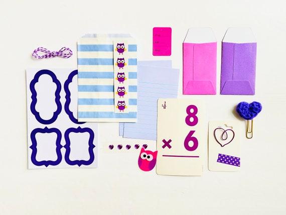 Purple and Lilac Journal Ephemera, Purple Crochet Heart Paper Clip, Paper Ephemera, Stickers, Junk Journaling Ephemera Kit, Craft Supplies