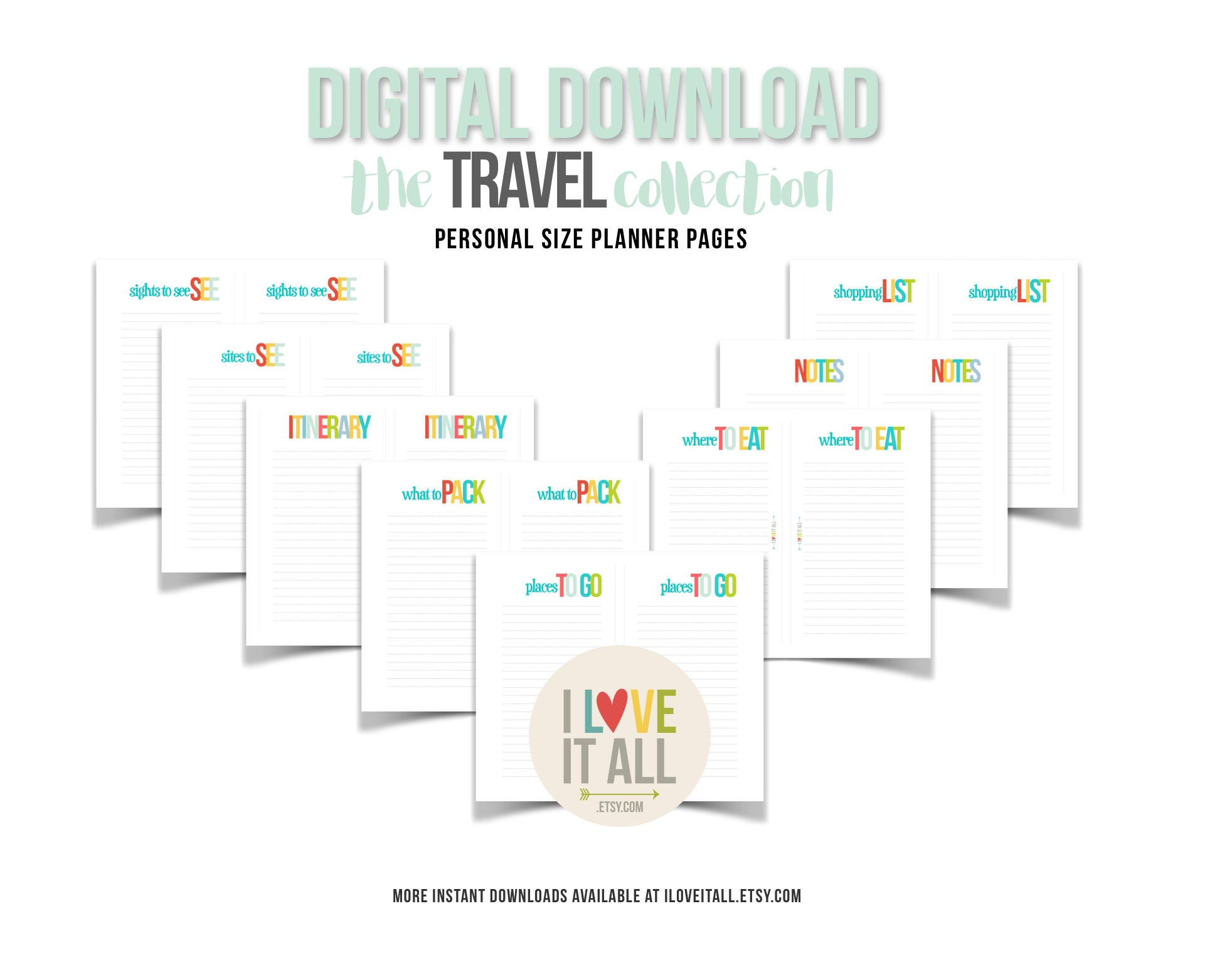 travel planner insert pages printable filofax personal planner downloads digital planner download sights to see packing list places