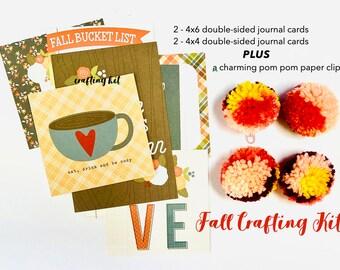 Fall Bucket List, Crafting Kit, Pom Pom Paper Clip, Autumn Nature Vibe, Ephemera, Junk Journal Ephemera, Junk Journal Craft Kit