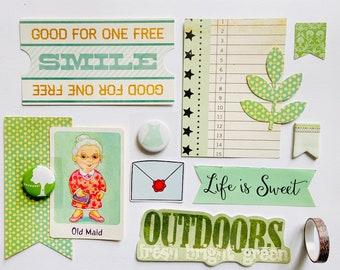 Green Ephemera Crafting Kit, Junk Journal Supplies, Junk Journaling, Green Flair Button, Collage Supplies, Journaling Supplies, Ephemera Kit