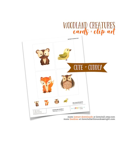 Woodland Animals, Woodland Creatures, Printable Journal Cards, Animal Shapes, Fox Card, Yellow Bird, Wise Old Owl, Printable Ephemera Animal