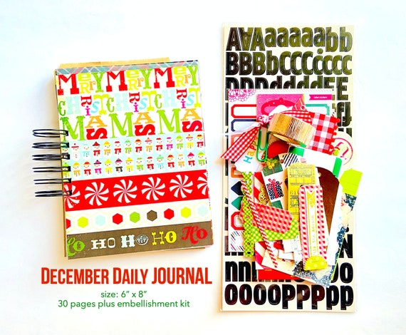 Christmas Holiday Junk Journal Album, 6 x 8 Christmas Junk Journal, December Daily Scrapbook Journal, Mixed Papers Mini Book, Vellum Pages