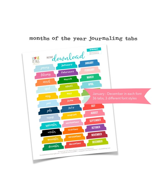 Printable Monthly Journal Tabs, Monthly Divider Tabs, Colorful Tabs, Cut Out Ephemera, Monthly Tabs, Planner Supplies, Planner Tabs, Months