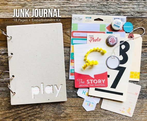 Mixed Media Junk Journal, Junk Journal, Mixed Paper Journal, Mini Book Journal, Play Themed Journal, Smashbook Journal, Mini Album Scrapbook