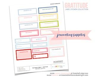 Printable Stickers, Gratitude Stickers, I Am Thankful, Gratitude Journal Ephemera, Junk Journaling, Bujo Planner Stickers, Printable Labels