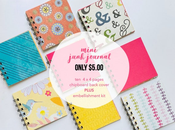 Mini Junk Journal, Square Mixed Media Journal, Mixed Paper Mini Book, 4 x 4 Mini Album, List Journal, Mini Album, Smashbook, Mini Journal