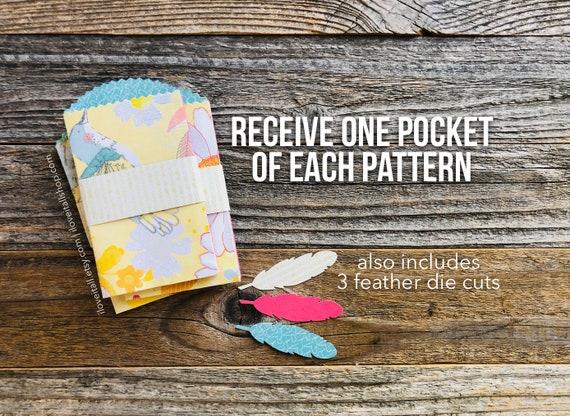 Tag Pockets, Scallop Edge Pocket Envelope, Junk Journal Supplies, Junk Journaling Ephemera, Mixed Media Journal Supplies, Collage Journaling
