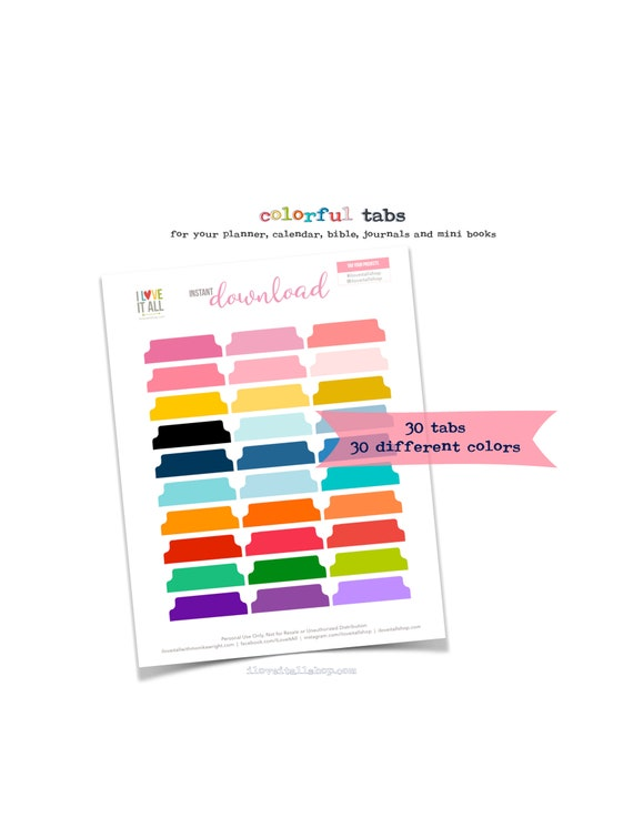 Printable Journal Tabs, Colorful Divider Tabs, Calendar Tabs, Journal Tabs Download, Planner Supplies, Planner Tabs, Printable Calender Tabs