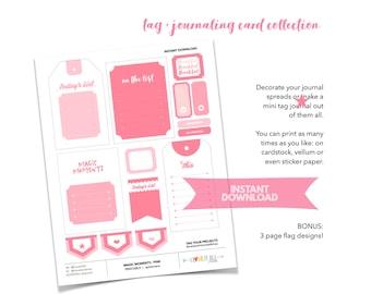 Pink Paper Ephemera Sticker Collection, Junk Journaling Supplies, Printable Pink Clip Art, Printable Stickers, Collage Supplies, Printables