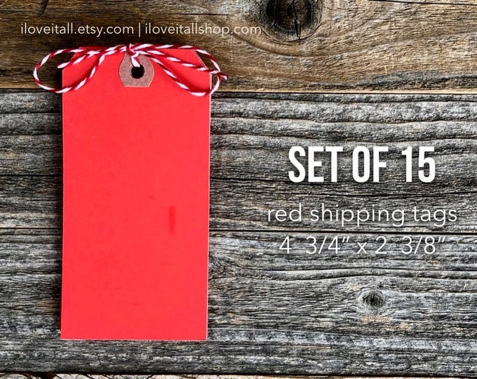 Featured listing image: Red Tags, Large Red Tags, Red Paper Tags, Junk Journal Paper, Paper Ephemera, Scrapbook Ephemera, Planner Supplies, Journaling Tag, Planner