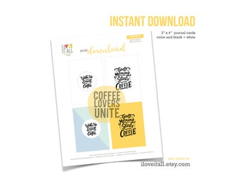 Wake Up and Smell the Coffee, Good Morning, Cup of Coffee, Journaling Cards, Journal Cards, Journal Prompts, Scrapbooking, Happiness, Coffee