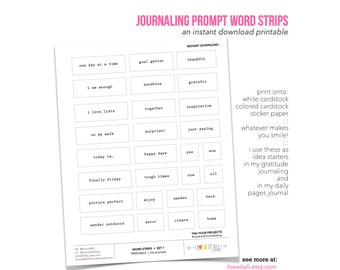 Journaling Prompts, Word Strips, Printable Journaling Suppiles, I Am Enough, List Journal Starters, Story Starter Printable, Minimalist