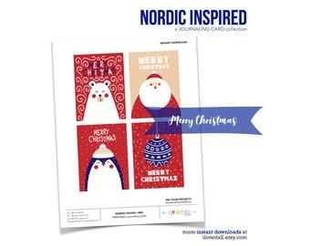 Merry Christmas Gift Tags, Nordic Design, Bear Card, Santa Journaling Cards, Ornament Journaling Card, Journal Cards, Christmas Gift Tag