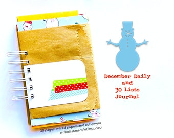 Christmas Holiday Junk Journal Album, Gold Foil Vellum, Christmas Junk Journal, December Daily Memories, 30Lists, Mixed Papers Mini Album