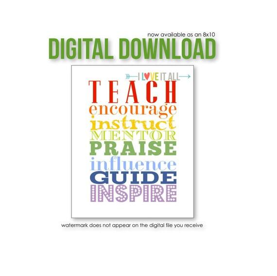 Gift for Teacher, Teacher Appreciation, Class, Teach Inspire, Instruct Praise, Influence Guide, Educator Mentor, Classroom Decor, Educate