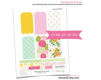 Floral Tag, Flowers, Springtime, Pink Grid, Yellow Doily, Printable Tag, Journaling Spots, Washi Tape Strips, Instant Download, Printable