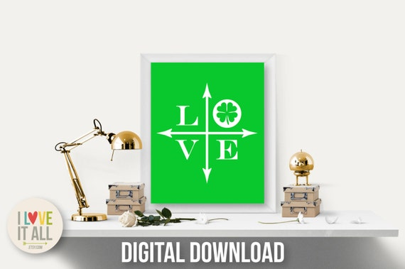 Love Art Print, Shamrock Art Print, Lucky in Love, St Patrick's Day Art, Shamrock Art, Shamrock Love, Four Leaf Clover, Three Leaf Clover