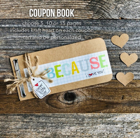 Birthday Coupon Book, We Love You, I Love You, Love You Journal, Birthday Card, Gift for Husband, Boyfriend, Anniversary Card, Deployment