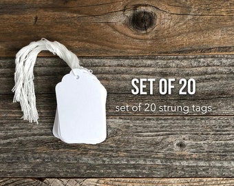White Paper Tags with String, Small White Tags, Hang Tags, Set of 20 Marking Tags, Gift Tag, Journaling Spots, Small Tag, White Tags String