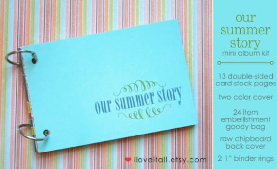 Our Summer Story, Summer,  Junk Journal, Embellishment Kit, Mixed Media, Notebook, Travel Journal, Trip Journal, Memory Album, Smash Book