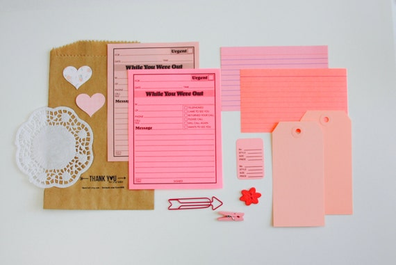 Pink Planner Supplies Kit, Pink Ephemera, Junk Journal Supplies, Embellishment Kit, Scrapbooking, Mini Album Kit, Pink Shipping Tag, Doily