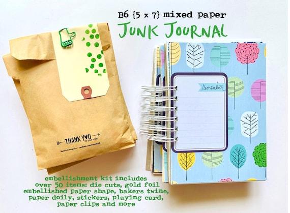 Junk Journal, B6 Journal, Spiral Bound Notebook, Paper Ephemera, Mixed Media Journal, Mixed Paper Mini Book, Mini Album Book, Smashbook,