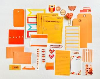 Orange Junk Journaling Ephemera Supplies, Orange Chipboard Paper Crafting Kit, Orange Crochet Heart, Sticker Sheets, Orange Paper Ephemera