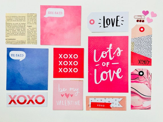 Lots of Love, Crafting Kit, Paper Tag, Pink Ephemera Kit, Paper Ephemera, XOXO, Pink Paper Clip, Love Tag, He Said, She Said, Pink Hearts,