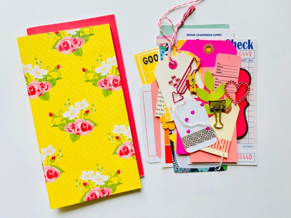 Yellow Floral, Floral Journal, Pink Journal, Refill Insert, Junk Journaling, Arrow Clip, Midori, TN Inserts, Travelers Notebook, Planner