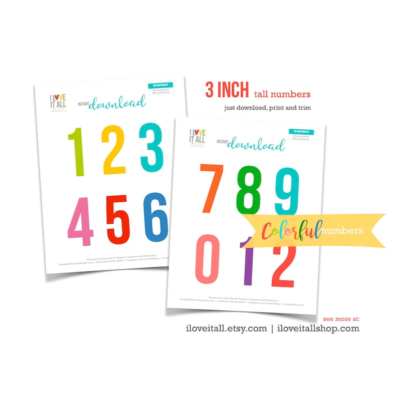 Printable Numbers Colorful Number Die Cuts Cut Out Ephemera image 0